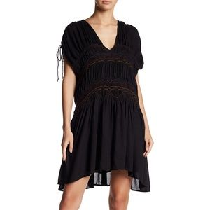 NEW Free People Cinched Smocked Embroidered Dress